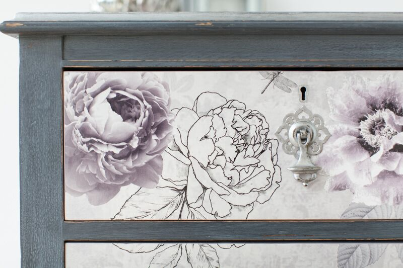 Grey And Lilac Chest Of Drawers Decoupaged In Romantic