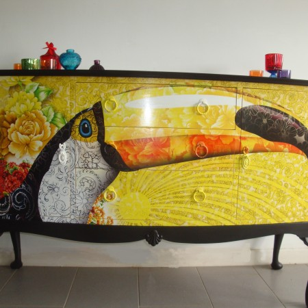 tropical painted furniture. Delighful Furniture Funky Sideboard  Drinks Cabinet Decoupaged With A Vibrant Tropical Toucan  Image The Original Handles Have Been Painted To Disappear Into The Background With Tropical Painted Furniture